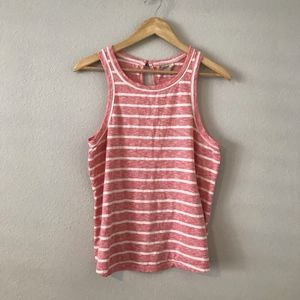 Lucky Brand Red White Striped Tank Top